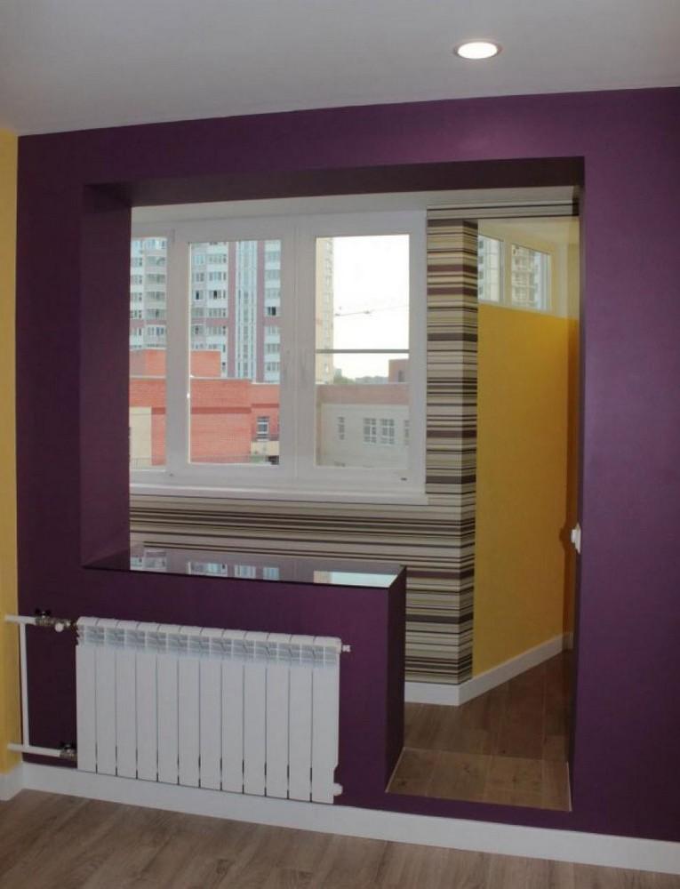 Дом п-44 совмещение гостиной с балконом.