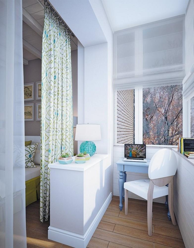 Дизайн балкона по продолжение комнаты.