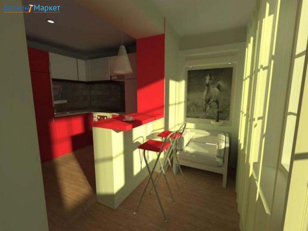 Дизайн кухни с балконом и барной стойкой дизайн кухни - фото.